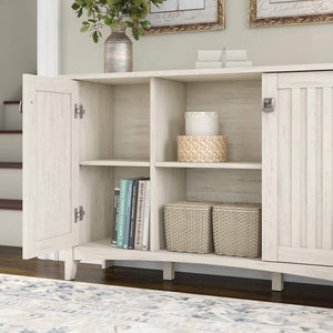Cheap bush furniture salinas accent storage cabinet with doors in antique white