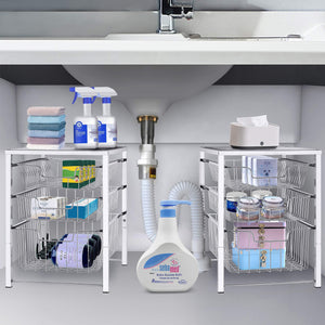 Great simple trending 3 tier under sink cabinet organizer with sliding storage drawer desktop organizer for kitchen bathroom office stackbale chrome