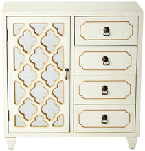 Load image into Gallery viewer, Select nice heather ann creations 4 drawer wooden accent chest and cabinet multi clover pattern grille with mirrored backing 30 75h x 29 5w beige gold