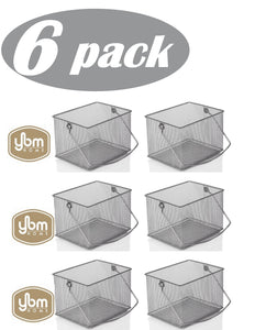 Related ybm home mesh wire food storage organizer bin basket with handle for kitchen pantry cabinets bathroom laundry room closets garage rectangle metal farmhouse mesh basket 6 pack