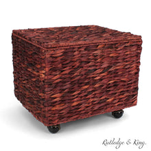 Load image into Gallery viewer, Amazon seagrass rolling file cabinet home filing cabinet hanging file organizer home and office wicker file cabinet water hyacinth storage basket for file storage russet brown