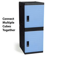 Load image into Gallery viewer, Order now jink locker lockable storage cabinet 19 with keys great for kids home school office or outdoor toy box footlocker bedside dresser nightstand sports or gym blue
