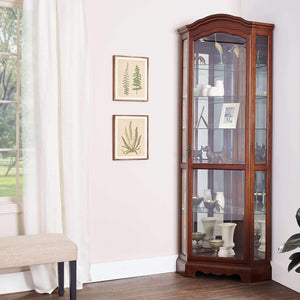 Explore 5 shelf corner curio cabinet medium brown and clear