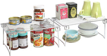 Load image into Gallery viewer, Kitchen 2 pack decobros stackable kitchen cabinet organizer chrome