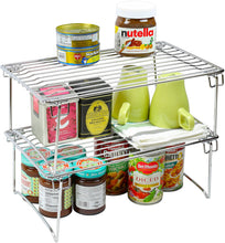 Load image into Gallery viewer, Home 2 pack decobros stackable kitchen cabinet organizer chrome