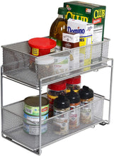 Load image into Gallery viewer, Discover the ybm home silver 2 tier mesh sliding spice and sauces basket cabinet organizer drawer 2304