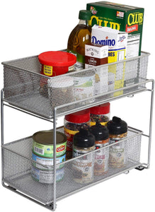 Discover the ybm home silver 2 tier mesh sliding spice and sauces basket cabinet organizer drawer 2304