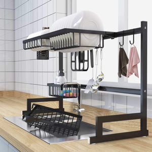 Latest over sink dish drying rack kitchen organizer and dish drainer with 7 interchangeable racks and caddies plus bonus wine glass rack that mounts to cabinetry