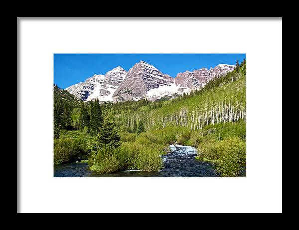 Maroon Bells And West Maroon Creek - Framed Print