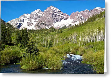Maroon Bells And West Maroon Creek - Greeting Card