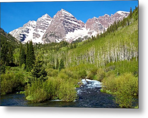 Maroon Bells And West Maroon Creek - Metal Print