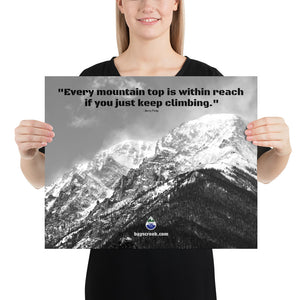 Poster - Finlay Quote With Mount Chapin Black & White