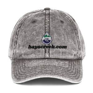 Vintage Cotton Twill Cap With Bay's Creek Logo & Text