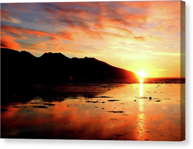 Turnagain Arm Sunset South Of Anchorage Alaska - Canvas Print
