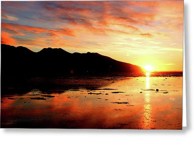 Turnagain Arm Sunset South Of Anchorage Alaska - Greeting Card
