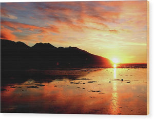 Turnagain Arm Sunset South Of Anchorage Alaska - Wood Print