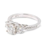 Women's White 14 Karat 3 Stone Diamond Engagement Ring