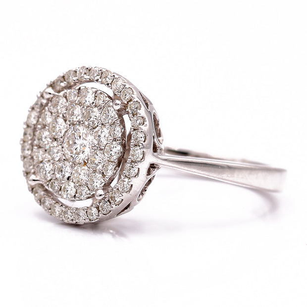 Women's White 14 Karat Halo Diamond Engagement Ring