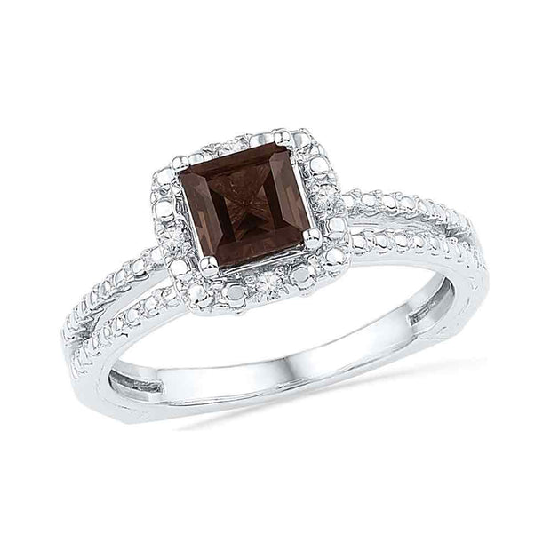 10kt White Gold Womens Princess Lab-Created Smoky Quartz Solitaire Ring 3/4 Cttw