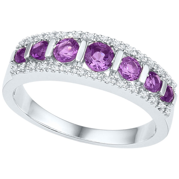 10kt White Gold Womens Round Lab-Created Amethyst Band Ring 3/4 Cttw