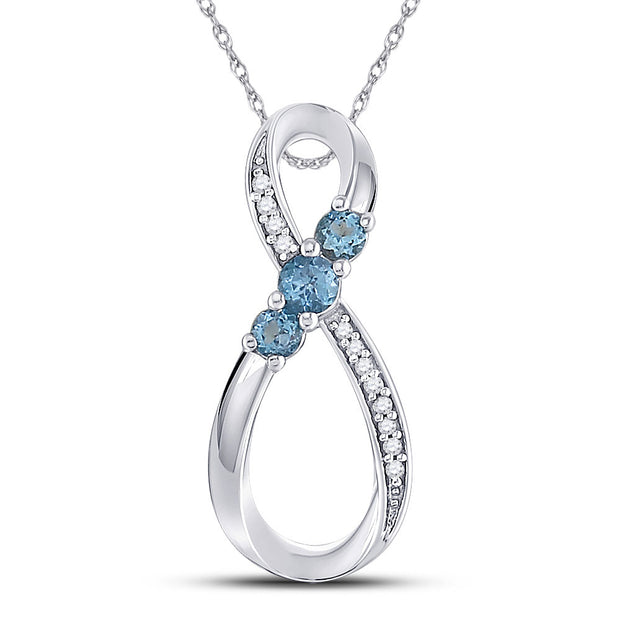 10kt White Gold Womens Round Lab-Created Blue Topaz 3-stone Pendant 3/8 Cttw