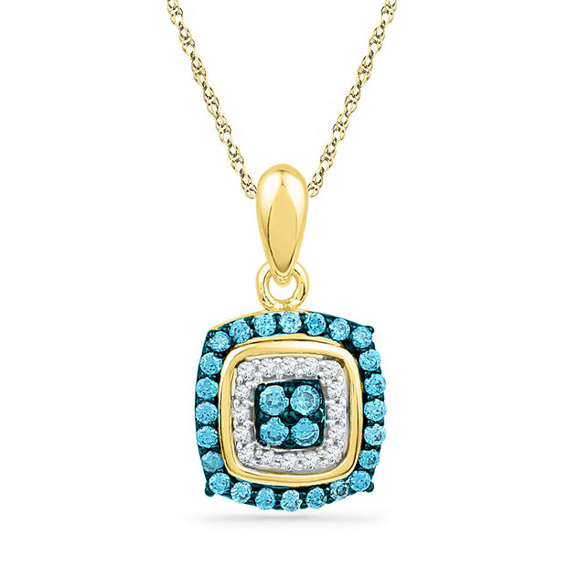 10kt Yellow Gold Womens Round Blue Color Enhanced Diamond Square Cluster Pendant 1/3 Cttw