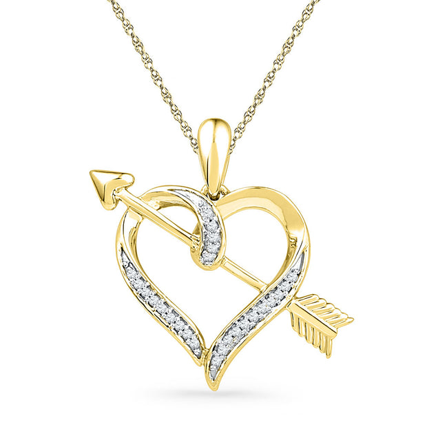 10kt Yellow Gold Womens Round Diamond Heart Arrow Pendant 1/12 Cttw