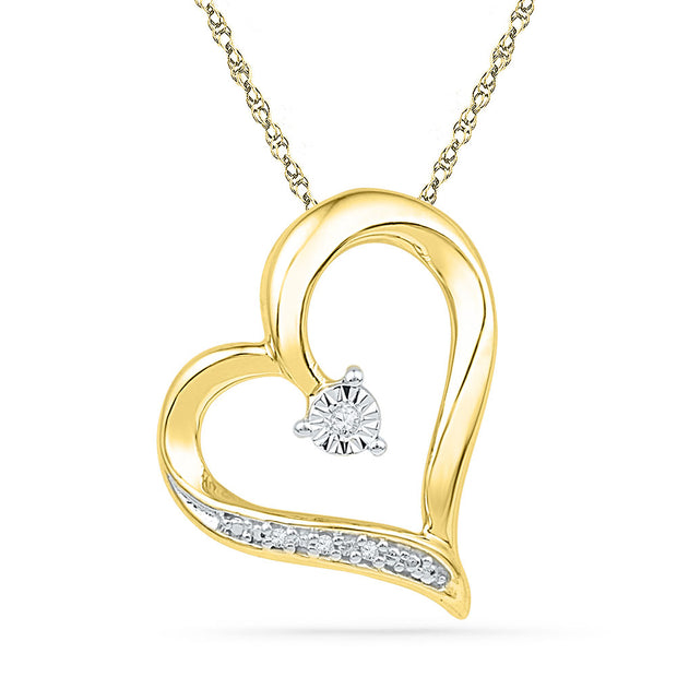 10kt Yellow Gold Womens Round Diamond Heart Pendant .01 Cttw