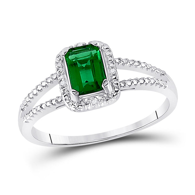 Sterling Silver Womens Lab-Created Emerald Solitaire Diamond Split-shank Ring 1-1/2 Cttw