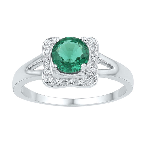 Sterling Silver Womens Round Lab-Created Emerald Solitaire Square Frame Ring 7/8 Cttw