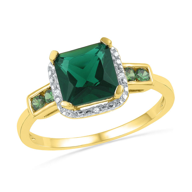 10kt Yellow Gold Womens Princess Lab-Created Emerald Solitaire Ring 1/5 Cttw