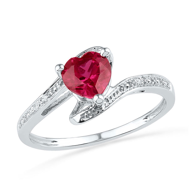 10kt White Gold Womens Heart Lab-Created Ruby Diamond-accent Bypass Ring .01 Cttw