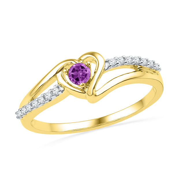 10kt Yellow Gold Womens Lab-Created Amethyst Heart Ring 1/5 Cttw