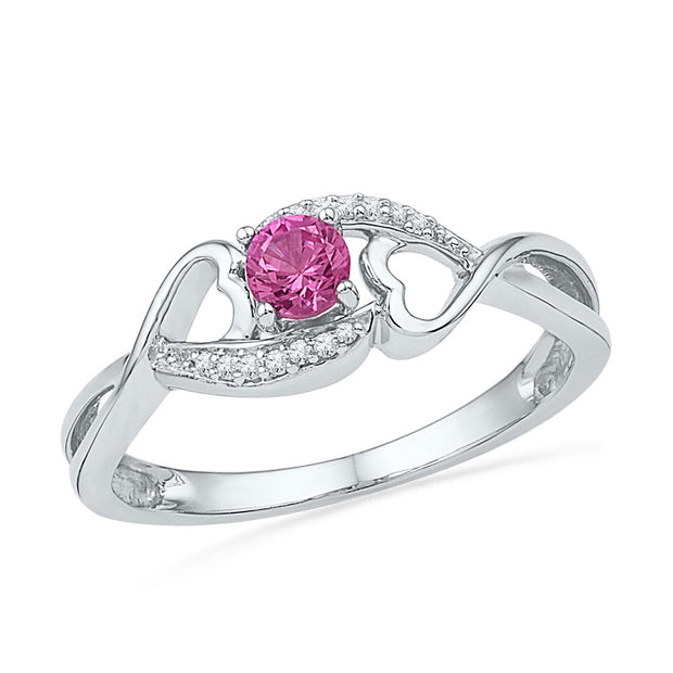 Sterling Silver Womens Round Lab-Created Pink Sapphire Solitaire Heart Ring 1/6 Cttw