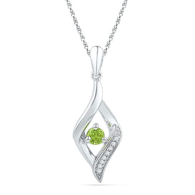Sterling Silver Womens Round Lab-Created Green Peridot Oval Pendant 1/5 Cttw