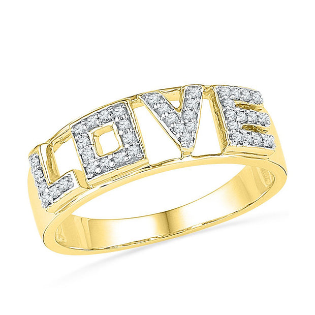 10kt Yellow Gold Womens Round Diamond Love Band Ring 1/6 Cttw