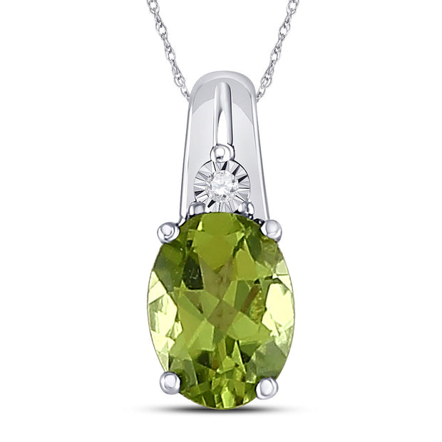 Sterling Silver Womens Oval Lab-Created Green Peridot Solitaire Diamond Pendant 1.00 Cttw
