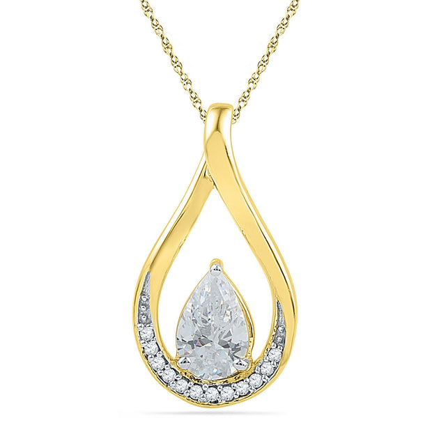 10kt Yellow Gold Womens Pear Lab-Created White Sapphire Diamond Teardrop Pendant 1.00 Cttw