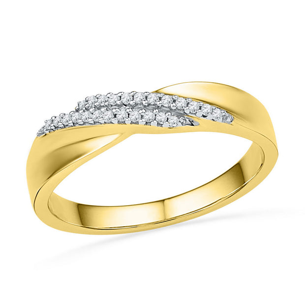 10kt Yellow Gold Womens Round Diamond Double Row Crossover Band Ring 1/10 Cttw