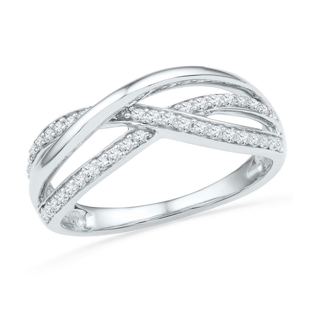 10kt White Gold Womens Round Diamond Triple Woven Strand Band Ring 1/5 Cttw