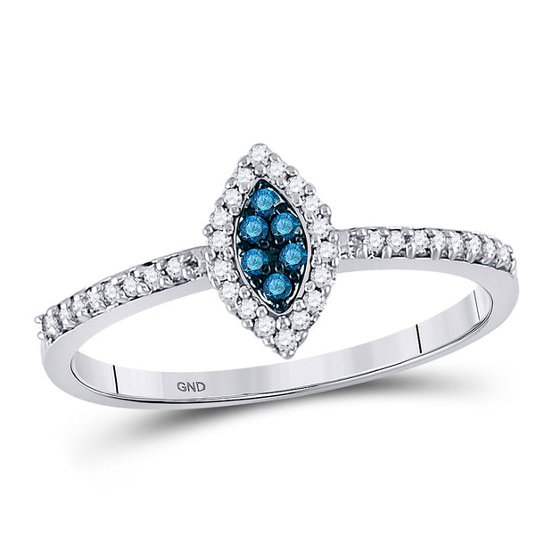 10kt White Gold Womens Round Blue Color Enhanced Diamond Cluster Ring 1/5 Cttw