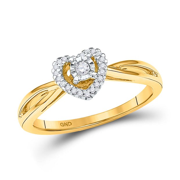 10kt Yellow Gold Womens Round Diamond Heart Solitaire Ring 1/8 Cttw