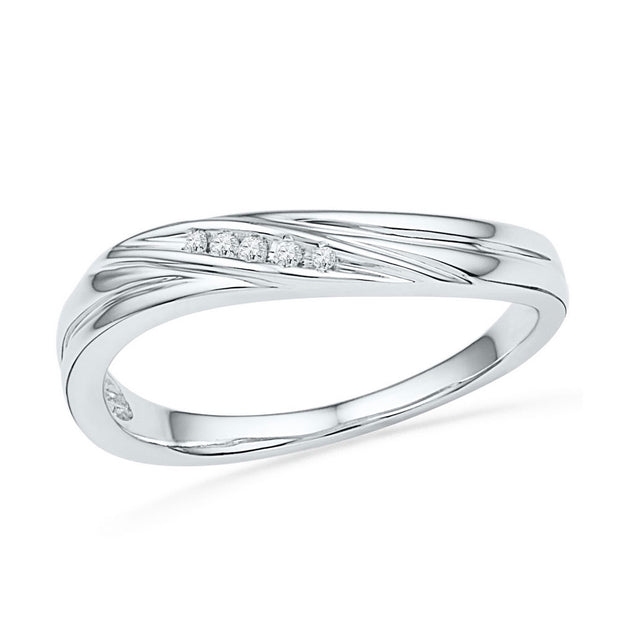 10kt White Gold Womens Round Diamond Contoured Band Ring .02 Cttw