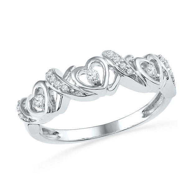 10kt White Gold Womens Round Diamond Heart Band Ring 1/8 Cttw