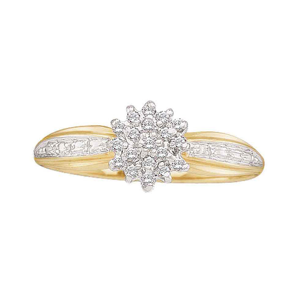 10kt Yellow Gold Womens Round Diamond Cluster Ring 1/10 Cttw