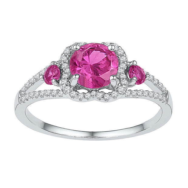 Sterling Silver Womens Round Lab-Created Pink Sapphire 3-stone Diamond-accent Ring 1-5/8 Cttw