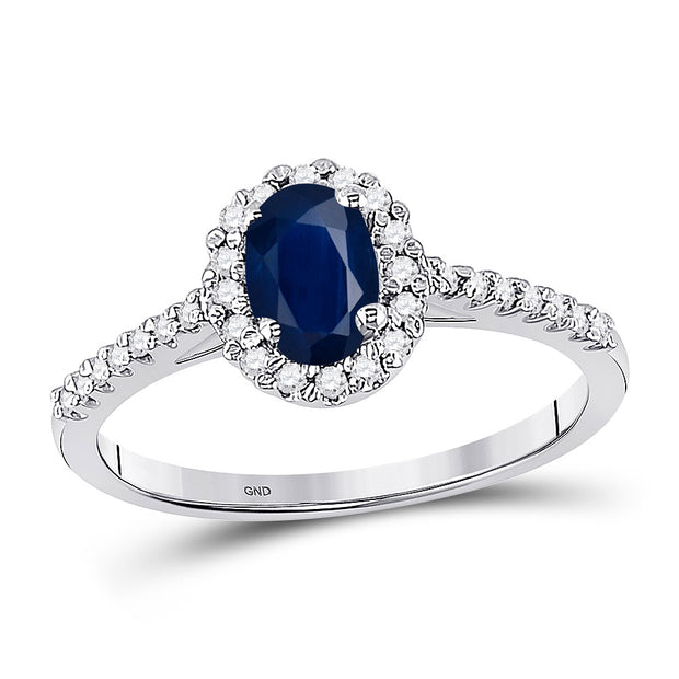 10kt White Gold Womens Oval Lab-Created Blue Sapphire Solitaire Ring 3/4 Cttw
