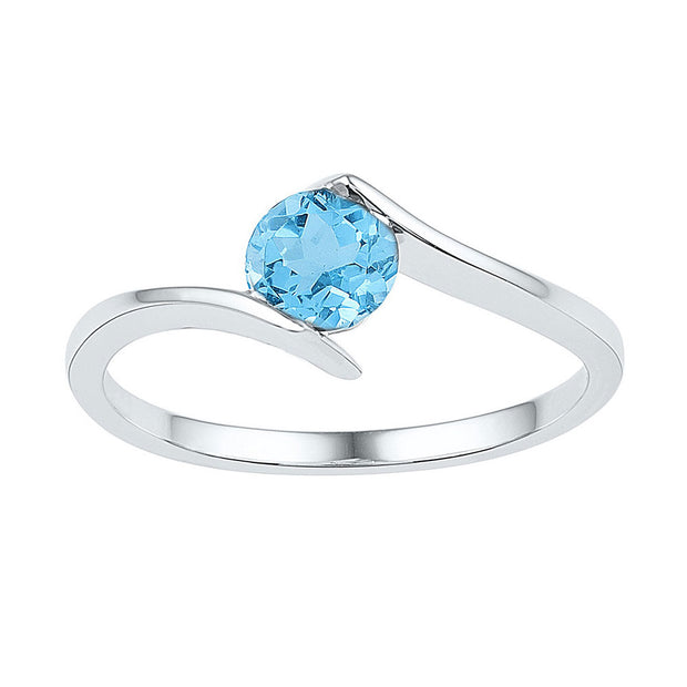 10kt White Gold Womens Round Lab-Created Blue Topaz Solitaire Ring 7/8 Cttw