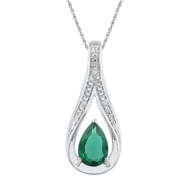 Sterling Silver Womens Pear Lab-Created Emerald Solitaire Pendant 1-3/4 Cttw