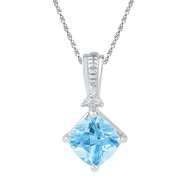 Sterling Silver Womens Princess Lab-Created Blue Topaz Fashion Pendant 2-3/8 Cttw